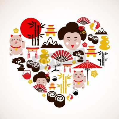 Plakát Heart shape with Japan icons