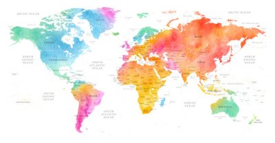 Plakát High detailed Multicolor Watercolor World Map Illustration with borders, oceans and countries on white Background, Side View.
