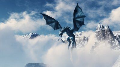 Plakát High resolution Ice dragon 3D rendered. Write your text and use it as poster, header, banner or etc.