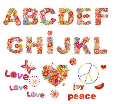 Plakát Hippie květinové abeceda s legračními barevných květin. Část 1
