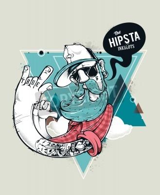 Plakát Hipster graffiti postava na abstraktní trojúhelník pozadí. Ručně tažené hipster vytetovat vole s knírem a bradkou. Vektorové ilustrace.