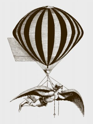 Plakát Historic aerialist wearing wings while suspended from a balloon. Illustration after a woodcut from the 19th century. Editable in layers