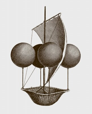 Plakát Historic flying ship, an aeronautic machine by Francesco Lana Terzi from 1670. lllustration after an engraving from the early 19th century. Editable in layers