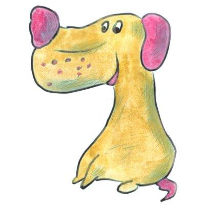 Plakát hnědý pes s růžové uši kreslený akvarel izolované