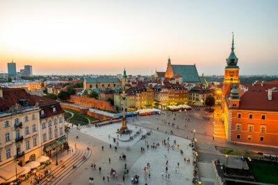 Plakát Horní pohled na staré město ve Varšavě