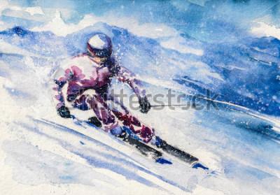 Plakát Horský lyžař skákal z hory. Obrázek vytvořený pomocí akvarelu.