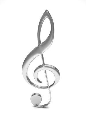 Plakát houslový klíč 3d na bílém