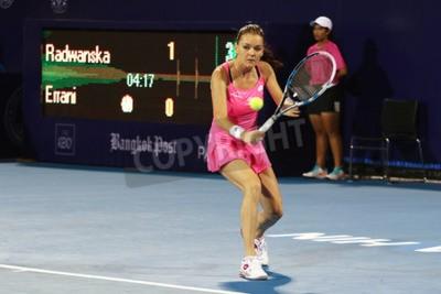 Plakát Hua Hin, Thajsko - 01.01.2016: Agnieszka Radwanska je zařazen na 5. místě na světě. World Tennis Championship Thailand 2016 na Pravda Arena Hua Hin sportovního klubu, Prachuap Khiri Khan.