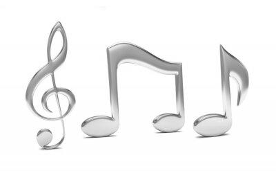 Plakát hudba poznámka 3D, na bílé