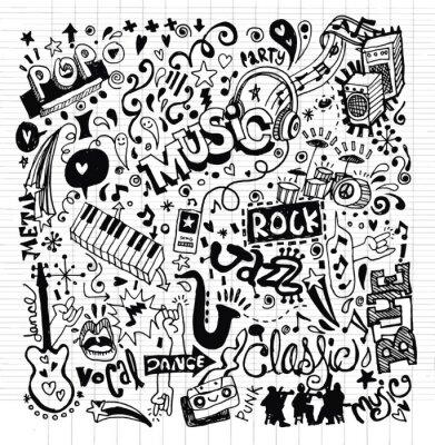 Plakát Hudbu na pozadí, Ruční kresba Doodle