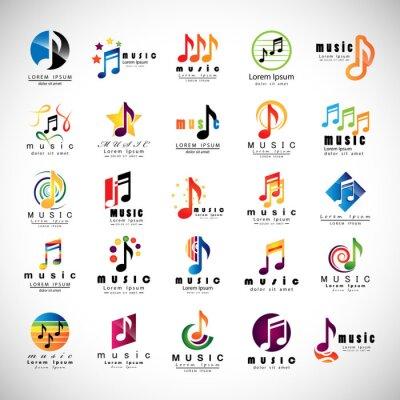 Plakát Hudební ikony Set - izolovaná na šedém pozadí