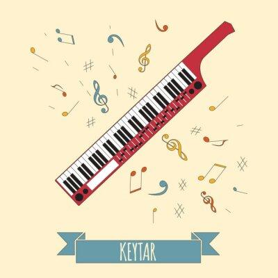 Plakát Hudební nástroje grafické šablony. Keytar.