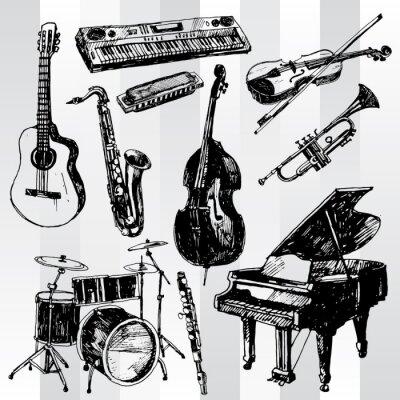 Plakát Hudební nástroje: Hand Drawn