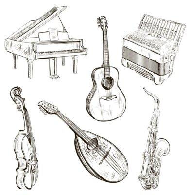 Plakát hudební nástroje v náčrtu stylu