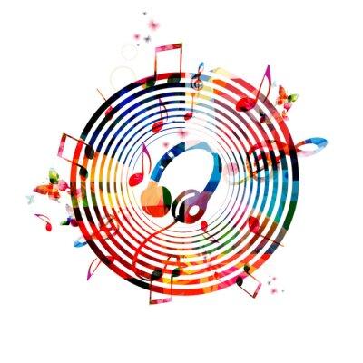 Plakát Hudební poznámky pozadí se sluchátky na uších