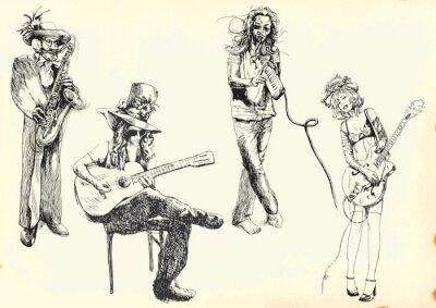 Plakát hudebníci - sbírka ručních kreseb do vektoru