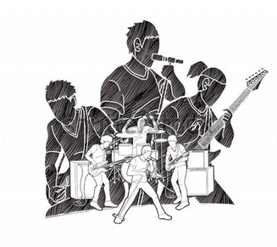 Plakát Hudebník spolu hrají hudbu, hudební skupina, grafický grafik umělec