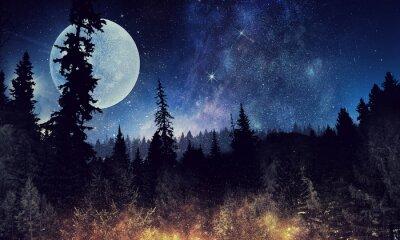 Plakát Hvězdné nebe a měsíc. Smíšená média