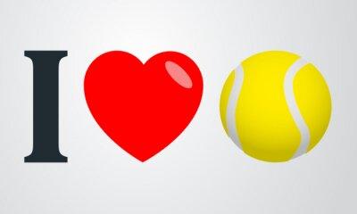 Plakát Icono Plano Miluju tenis barvu en fondo degradado