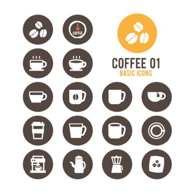 Plakát Ikon Coffee set. Vektorové ilustrace.