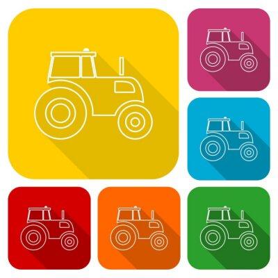 Plakát ikony pro traktory souprava s dlouhý stín