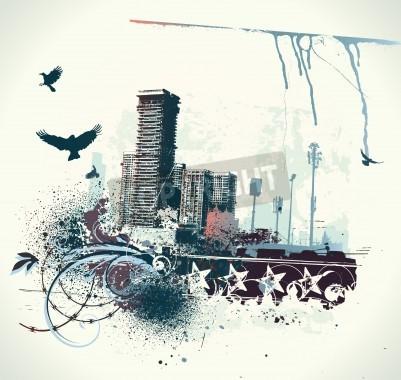 Plakát illustration of urban background with grunge stained Design elements