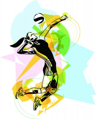 Plakát Illustration of volleyball player playing