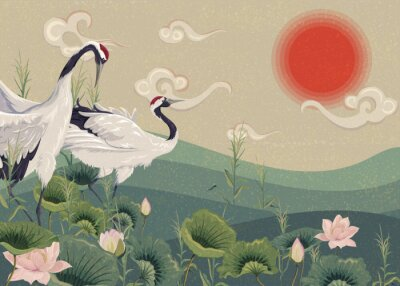 Plakát Illustration with Japanese cranes in the lake at sunset