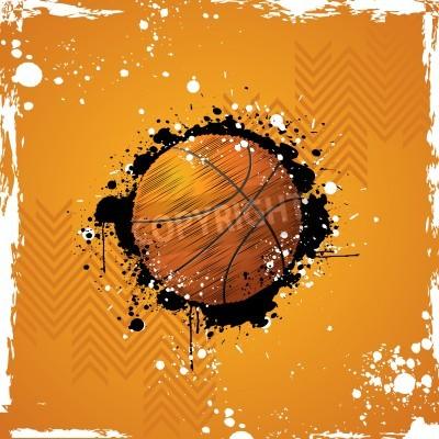 Plakát ilustrace basketbal na abstraktní výstřední pozadí