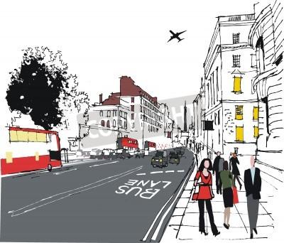 Plakát ilustrace dojíždějících na londýnské ulici města