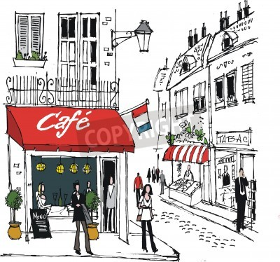 Plakát ilustrace francouzské vesnici cafe pouliční scény
