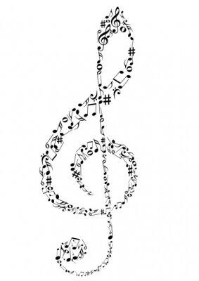 Plakát Ilustrace G klíč s hudebními poznámkami