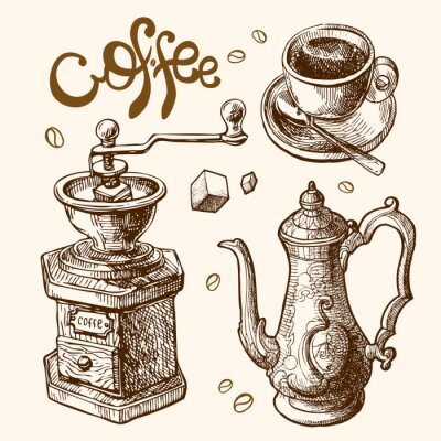Plakát ilustrace káva skica