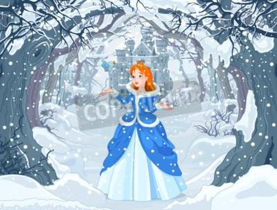 Plakát Ilustrace princezny s ptákem v blízkosti Magic Winter Castle