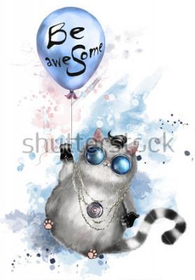 Plakát Ilustrace roztomilé kočky v rocker stylu, s kulatými brýlemi a šperky. Kočka létá na balón s nápisem - být úžasné. akvarel barva stříkající. Tričko, cool potisk.