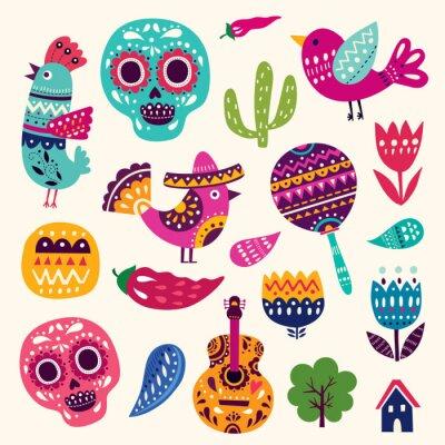 Plakát Ilustrace se symboly Mexika