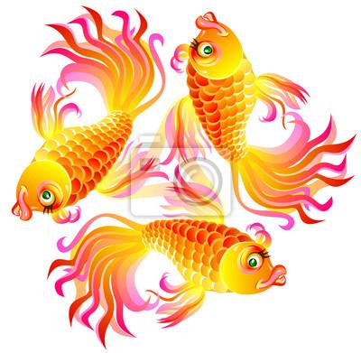 Ilustrace Tri Ryby Hrani Vektorove Kresleny Obrazek Plakaty Na Zed