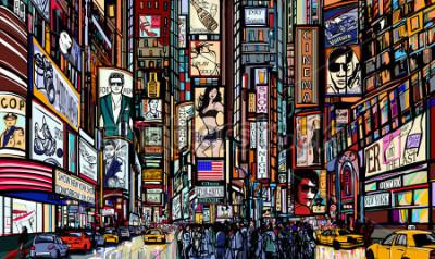 Plakát Ilustrace ulice v New Yorku - times square - vektorové ilustrace