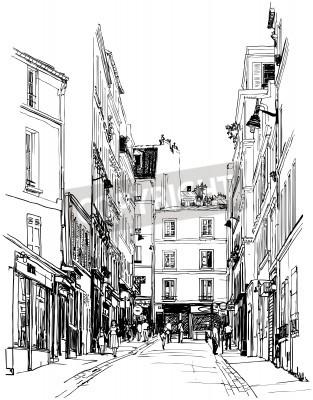 Plakát ilustrace ulici v blízkosti Montmartre v Paříži