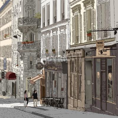 Plakát ilustrace ulici v Montmartre Paříži