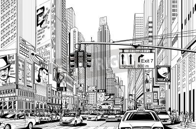 Plakát Ilustrace ulici v New Yorku