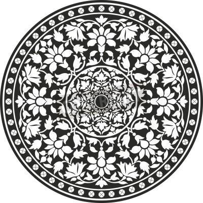 Plakát Indické tradiční vzor černé a bílé - květ mandaly
