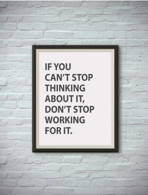 Plakát Inspirující motivační citát na rámu obrazu.