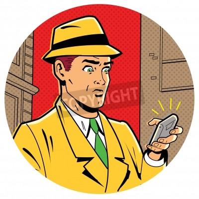 Plakát Ironic Satirical Ilustrace Retro Classic Comics muž s Fedora a moderní Smartphone