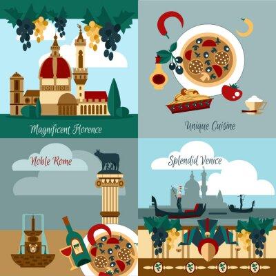 Plakát Itálie Turistická Set