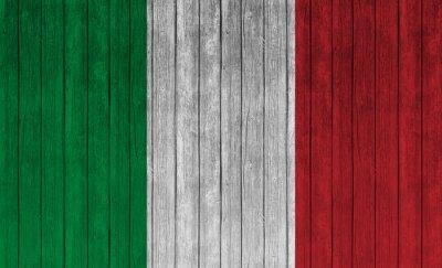 Plakát itálie vlajky na staré dřevo pozadí