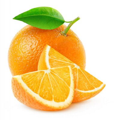 Plakát Izolované oranžové ovoce a plátky