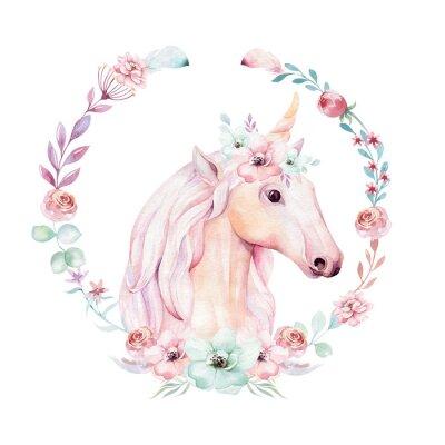 Plakát Izolované roztomilý akvarel jednorožce clipart s květinami. Ilustrace jednorožec školky. Plakát princezny z duhy. Trendy růžový kreslený poník.