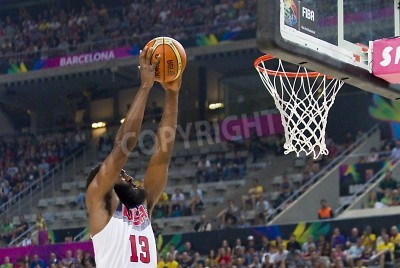 Plakát James Harden of USA in action at FIBA World Cup basketball match between USA Team and Lithuania, final score 96-68, on September 11, 2014, in Barcelona, Spain