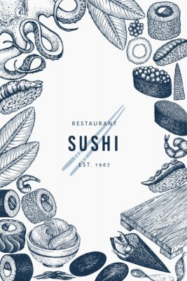 Plakát Japanese cuisine banner template. Sushi hand drawn vector illustrations. Retro style asian food background.